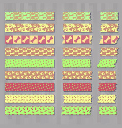 Set of cute kawai decorative tapes or scotches vector