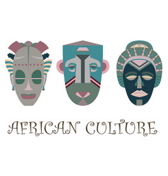 Set of three traditional african masks vector
