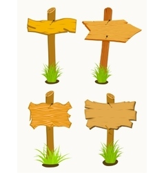 Set of Wooden signboard vector image