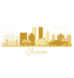 shantou china golden skyline silhouette vector image