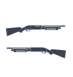 Shotgun two sides with texture over white vector