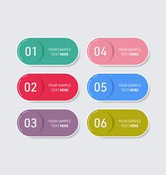 simple trendy web buttons with six options vector image