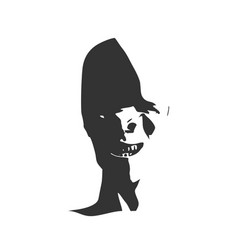 Smirking face silhouette vector