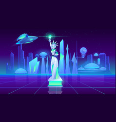 statue liberty neon city futuristi background vector image