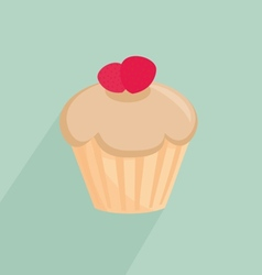 Strawberry cupcake on mint green background vector