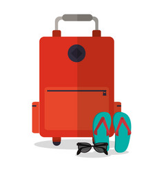 suitcase sunglasses sandals vacation vector image