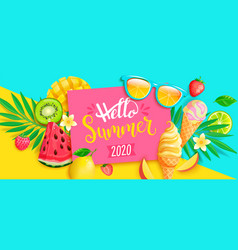 summer 2020 bright greeting banner vector image