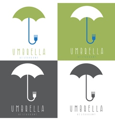 Umbrella with fork design set vector