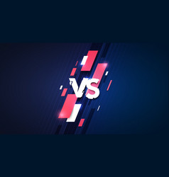versus sign with glitch style sport competion vector image