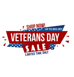 veterans day sale banner design vector image
