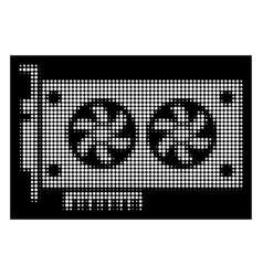 white halftone dual gpu videocard icon vector image
