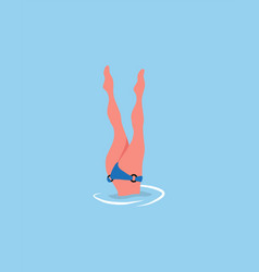 Woman diving legs up diver in bikini suit isolated vector