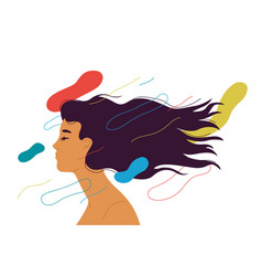 Woman with long hair style and eyes closed vector