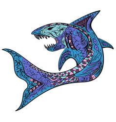 zentangle stylized colorful shark vector image