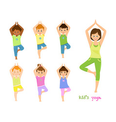 children do yoga with a yoga instructor vector image