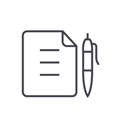 contractdocument file with pen line icon vector image vector image