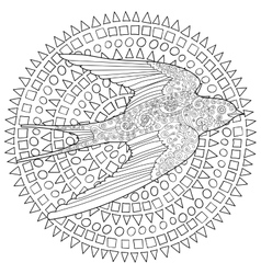 Happy swallow with high details vector