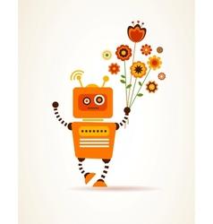 Orange robot with flowers vector image