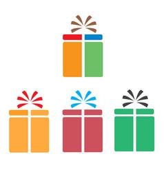 set gift box icon on white background flat style vector image vector image