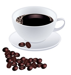 White cup of coffee with beans on white background vector image