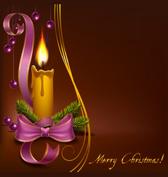 Christmas candle with beads on a brown background vector image