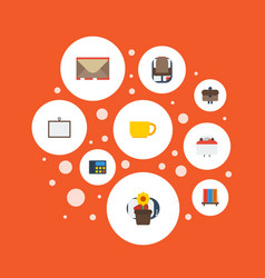 flat icons armchair letter whiteboard and other vector image vector image