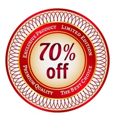Label on 70 percent discount vector image