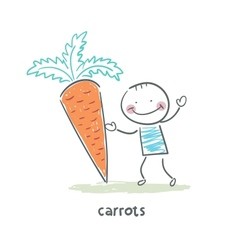 Man and carrots vector image vector image