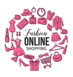 set of online fashion shopping icons vector image vector image