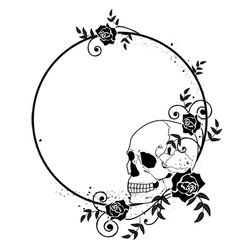 skull and roses frame vector image vector image
