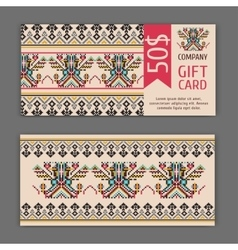 gift card template with a national ornament vector image vector image