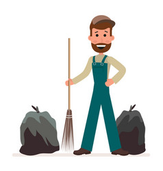 janitor with a broom and garbage bags isolated on vector image