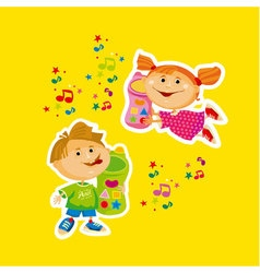 kids cartoon with toy cell phone vector image