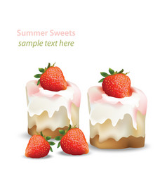 summer sweet cheesecake with strawberry fruits vector image vector image