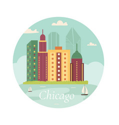 welcome to chicago posterview on lake skyscraper vector image vector image