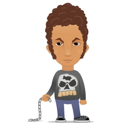 Cartoon hooligan with a chain vector image
