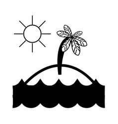 contour island with palm tree with sun and waves vector image vector image