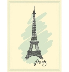 Eiffel Tower drawn in a simple sketch style vector image