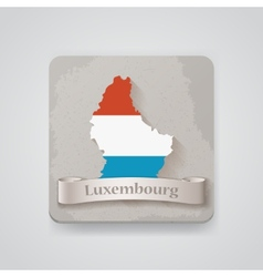 Icon of Luxembourg map with flag vector image