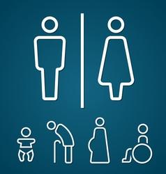 Restroom male female pregnant cripple oldster sign vector image