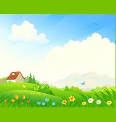 spring bloom landscape vector image