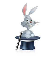 white rabbit and magic hat vector image vector image