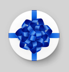 white round gift box with blue bow and ribbon vector image