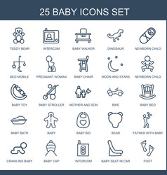 25 baby icons vector