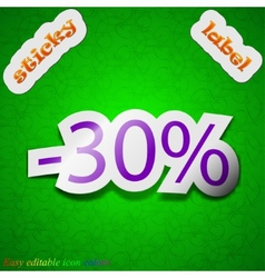 30 percent discount icon sign Symbol chic colored vector