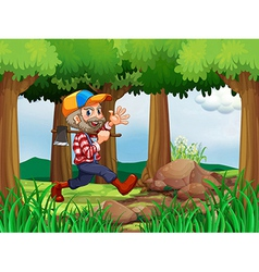 A forest with a cheerful woodman vector