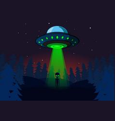 Alien invasion on earth ufo at night vector