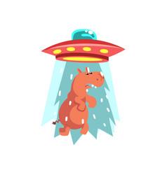 Alien ufo spaceship taking away hippo flying vector
