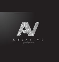 Av a v letter logo with zebra lines texture vector