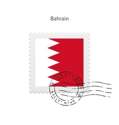 Bahrain Flag Postage Stamp vector image